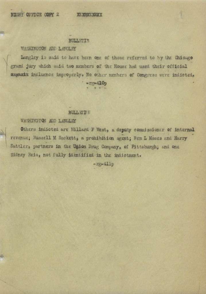 Associated Press, Washington, D.C., Bureau News Dispatches: 1924, Mar. 16-31