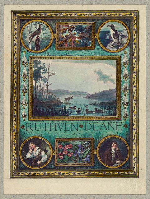 [Bookplate of Ornithologist Ruthven Deane, hand-colored by Mrs. Frank S. Hatch]