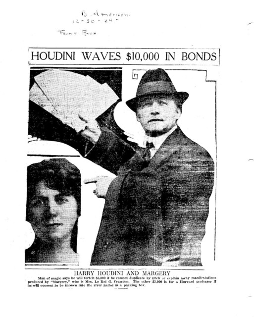 Boston American article, December 30, 1924 Houdini's $10,000 challenge to Margery and Harvard professor