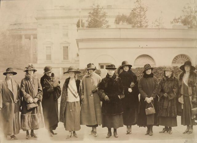 Congress would give full consideration to the Equal Rights Amendment. They formed a Valentine's Day deputation to the President. The[y] are L to R- Mrs. Jessica Henderson, Brookline, Mass.; Mrs. Anne Archbold, Maine; Mrs. Wm. Draper, Maine; Sallie Hovey, New Hampshire; Hazel Mac Kaye, Mass.; Gail Laughlin, Maine; Mrs. Ernest Schelling, Maine; Mary Kelly Macarty, Mass.; Mrs. H.O. Havemeyer, Conn.; Elsie Hill, Conn.
