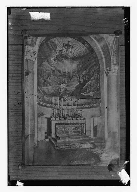 "[Copy of photograph showing the altar on the ""Rock of Agony"" in the Basilica of Gethsemane, Jerusalem]"