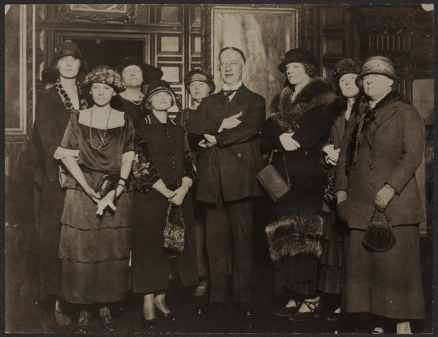 Equal Rights Deputation to Gov. Smith on 3/5/24. Woman's Party urges legislative program. Right to left, front row: Mrs. Lloyd Williams, New York; Mrs. Lieber E. Whittic, State Vice chairman, Syracuse; Miss Ethel Barrymore, Founder; Gov. Smith; Mrs. Theresa Shivarts, New York; Mrs. McKane; Back row: Mrs. Abram J. Rose; Mrs. Stephen Pell; Mrs. Robert B. Stearns; Mrs. Josephine Curtis Jenner, Life member, all of New York. Mrs. Thomas J. Swanton, Rochester, and Miss Fred Lee Woodson, Washington, are mysteriously invisible in this picture.
