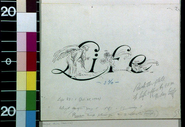 """[Father Time receiving balls from 1923 and 1924 cherubs around the word """"Life""""]"""