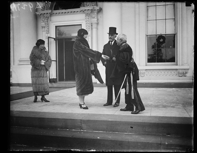[Group outside White House; Andrew W. Mellon, 2nd from right. Washington, D.C.]
