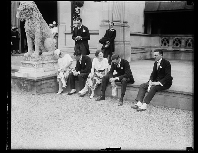 Informal grp. on steps of Vanderbilt mansion at Biltmore, N.C. before wedding. Seated l to r: Miss Caroline Story, Mr. Leander McCormic- Goodhart, Attache of British Embassy, Miss Helen Moran, Mr. G.H. Thompson, 2nd Secy. of British Embassy, and Mr. S. Pinckney [...] of the State Dept. Standing left: Mr. J. Nicholas Brown, Head Usher