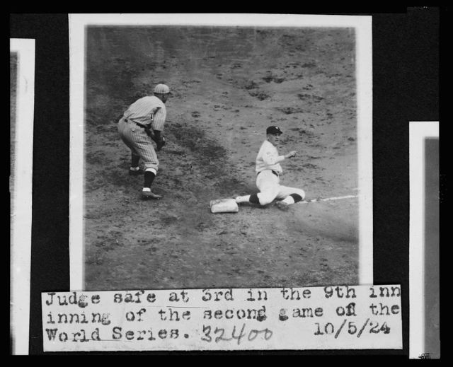[Joe Judge, of the Washington Nationals, sliding safely into 3rd base in the 9th inning of the second game of the 1924 World Series between Washington and the New York Giants]