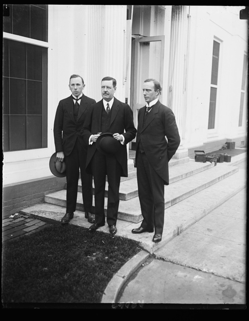 L to r: Prof. B. Hanger, noted Norweigian Educator, Hon. H. Bryn, Minister from Norway, and P.A. Pederson, Police Inspector of Norway, calling at W.H. [i.e., White House]