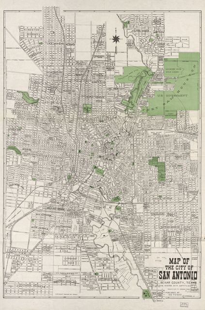 Map of the city of San Antonio, Bexar County: including suburbs both north and south /