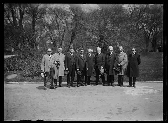 Members of Ill. congressional delegation who urged Pres. Coolidge to appoint Rep. Wm. J. Graham for Judge of Court of Appeals for D.C. to succeed the late C.H. Smyth. Left to rt.: E.J. King, F.H. Funk, W.E. Hull, W.P. Holaday, Fred A. Britten, Martin B. Madden, E.W. Sproul, Morton D. Hull, and Richard Yates