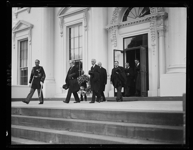 Members of the Cabinet, who were honorary pall bearers for the wife of Secy. of Interior, Hubert Work. Leaving White House funeral services held in East Room
