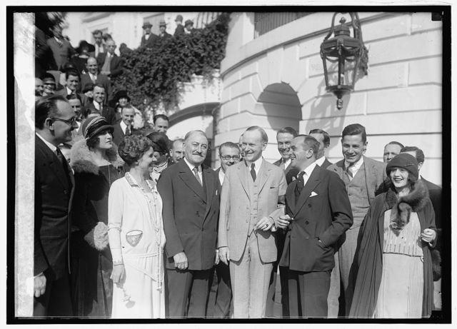 Mrs. Coolidge, John Drew, Pres. Coolidge and Al Jolson, 10/[...]/[24]