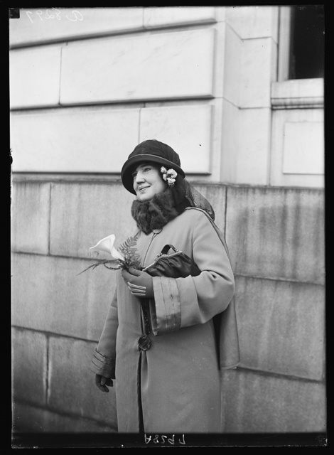 Mrs. Jake L. Hamon, widow of the Republican politician and Okla. oil man, as she left the Senate Office bldg., April 29th, after appearing before the Senate Oil Comm. where she was not asked a single question