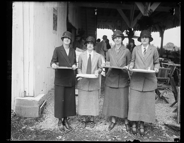 Nat'l Capitol Horse Show. Group of prominent Wash. socialites served refreshments at Wash. horse show for benefit of the Emergency Hospital fund. Left to rt.: Miss Ruth Stoddard, Mrs. Reber Littlehales, Miss Mary Gordon and Miss Bessie McKeldin