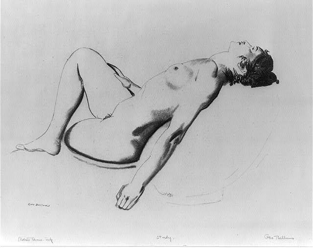 Nude study: woman lying on a pillow