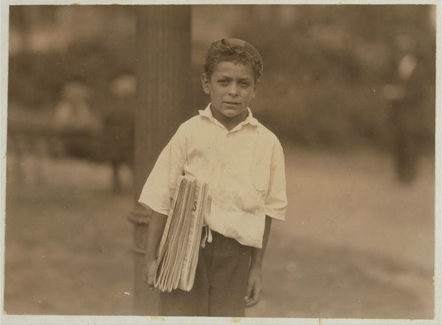 Patsy, an eight year old newsboy, August 1, 1924.  Location: Newark, New Jersey.