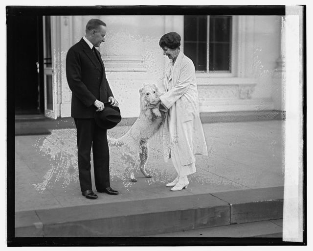 Pres. & Mrs. Coolidge acknowledge greetings from crowd, [11/5/24]