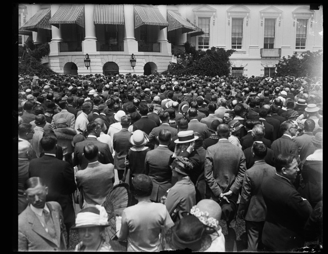[Pres. Coolidge addressing the delegates to the Nat'l Assoc. of Real Estate Boards in session at Wash. from the steps of the South portico of the White House, June 5th]