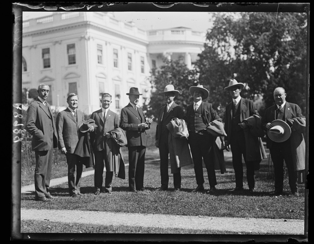 Pres. Coolidge with the champion home-run hitter of the minor leagues. L. to r.: C. Bascom Slemp, Sen. Sheppard, The Hired-Hand (radio announcer, of Ft. Worth, Tex.), Amon G. Carter, Pate, Kraft and W.N. Moore