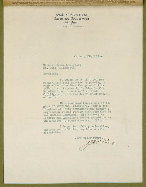 President Coolidge's tribute to Abraham Lincoln. A proclamation issued January 30, 1919 by Calvin Coolidge, the Governor of the State of Massachusetts.