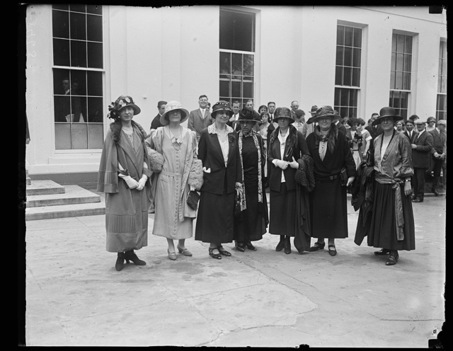 Prominent Republican women call on Pres. to discuss the part of women will play in the coming election. Lft to rt.: Miss Lucille Atcherson, State Dept., Mrs. B.P. Bruggmann, US Compensation Comm., Miss Mabel W. Willebrandt, Asst. Atty. Gen.; Mrs. Mary Anderson, Chmn., Woman's Bur., Labor Dept.; Miss Anne Webster, Chmn. Nat'l League of Women Voters; Miss Julia Lathrop, 1st Vice-Chmn., Nat'l League Women Voters; Miss Grace Abbott, Head Children's Bur., Labor Dept. [White House, Washington, D.C.]