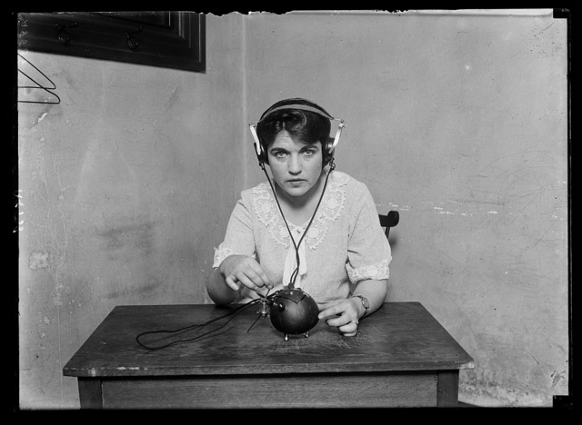 """""""Radio nut."""" This term is certainly applicable to this receiving set for everything necessary for receiving music and speech by radio has been put into a coconut shell. It was built by H. Zamora, a native of Manila, Philippine Islands"""
