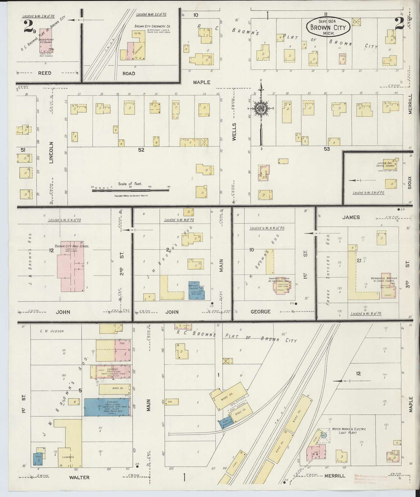 Sanborn Fire Insurance Map from Brown City, Sanilac County, Michigan.