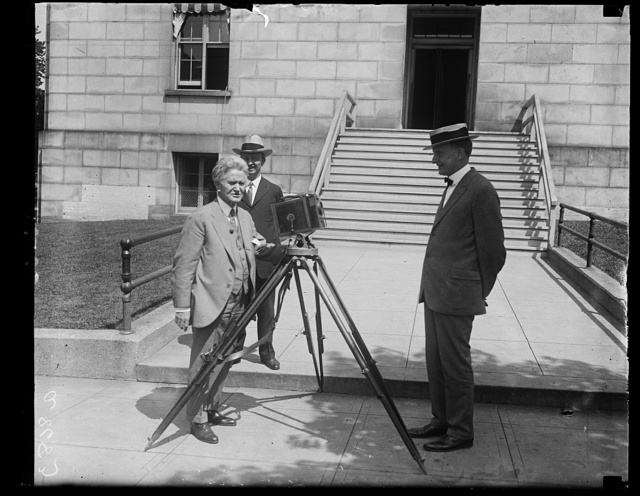 Sen. Robert LaFollette, Pres. nominee of third party ticket shoots his runningmate (with a movie camera) Sen. Burton K. Wheeler