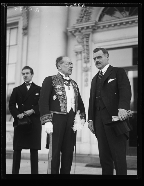 Senor Herman Velarde, newly appointed Amb. from Peru to the U.S., who presented his credentials to Pres. Coolidge Mar. 24th. Accompanied by J. Butler Wright (right), third Asst. Secy. of State [White House, Washington, D.C.]