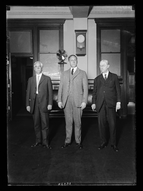 The Amer. delegates to the universal postal congress which convenes in Stockholm, Sweden, July 4th, 1924. Lft. to rt.: Jos. Stewart, Chmn. of the delegation and Executive Asst. to the Postmaster Gen.; E.R. White, Special Asst. to the 2nd Asst. Postmaster Gen., and Edwin Sands, Superintendent of foreign mails. They will sail on the Leviathan, June 14th