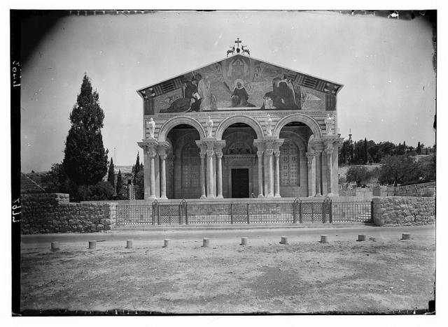 The Basilica of Gethsemane [i.e., Church of All Nations or Church of the Agony]. The fa ade showing portico and colorful mosaics.