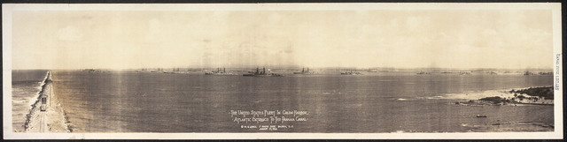 The United States fleet in Colon Harbor, Atlantic entrance to the Panama Canal