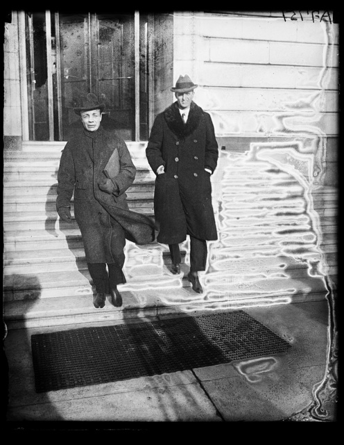 Theodore Roosevelt, Jr., and his brother Archy leaving Senate office bldg.