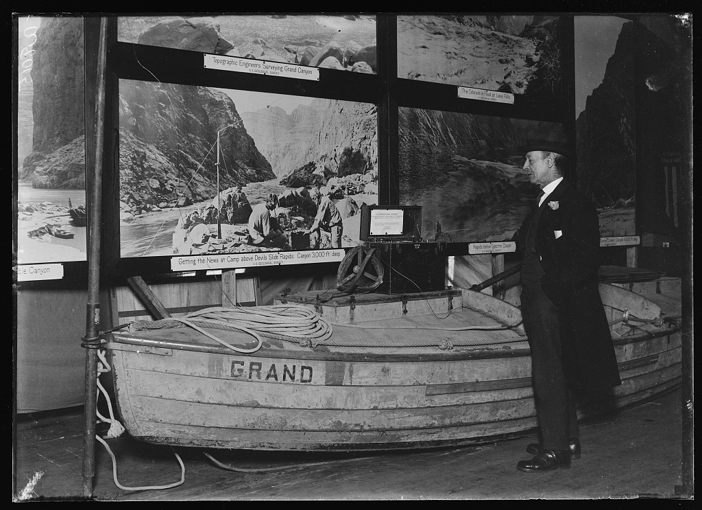 This boat with a special receiving was left by scientists of the U.S. Geological Survey in a trip through the Grand Canyon of Colo. in 1923. This set with the oars as an aerial picked up news of the death of Pres. Harding three-quarters of an hour after his death. This was quite some feat considering the set was 3,000 ft. below sea level and 100 degrees in the shade