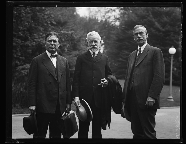 [William E. Borah, Henry Cabot Lodge and unidentified]