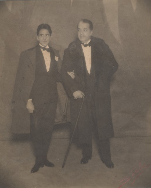 Photograph of Jean Cocteau and Serge Diaghilev on the opening night of LeTrain Bleu, 1924