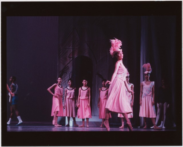 Photograph of the Dance Theatre of Harlem in a reconstruction of Les Biches, 1989