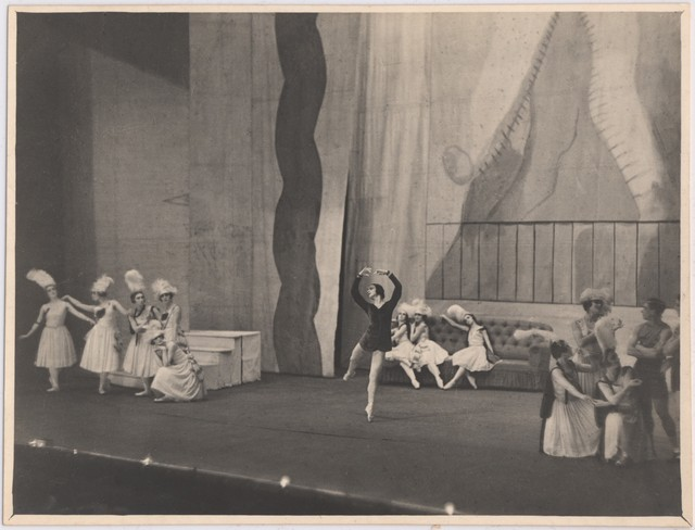 Photograph of Vera Nemchinova as the Girl in Blue and cast, Les Biches, 1924, no photographer