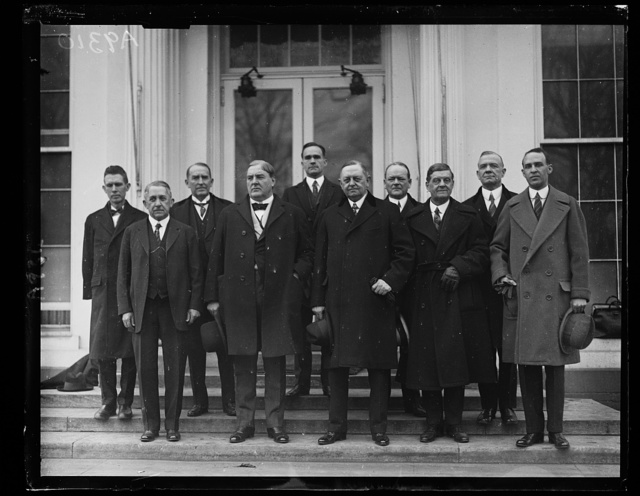 A Congressional Delegation from the state of Alabama called on President Coolidge today, Jan. 15th, to urge the appointment of M.M. Caskie, of that state, to the Interstate Commerce Commission. Left to right, front row: Rep. E.B. Alman, Senator J. Thomas Heflin, Senator Oscar W. Underwood, Rep. W.B. Oliver and [...]lister Hill. Back row, Rep. M.C. Allgood, Rep. W.B. Bankhead, Rep. Lamar Jeffers, Rep. John McDuffle, and Rep. Henry Bascom Steag[...] [White House, Washington, D.C.]