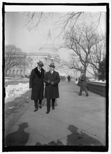 Capt. Herbert Hartley of S.S. Leviathan and Rep. Fred Britten at Cap. [i.e., Capitol, Washington, D.C., 1/7/25]