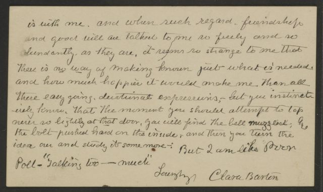 Clara Barton Papers: Addition, 1883-1926; Correspondence, 1898, 1905-1911, 1925-1926, undated