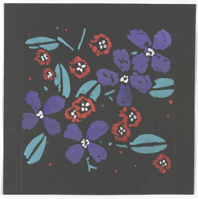 [Design for a textile or wallpaper with floral motif]