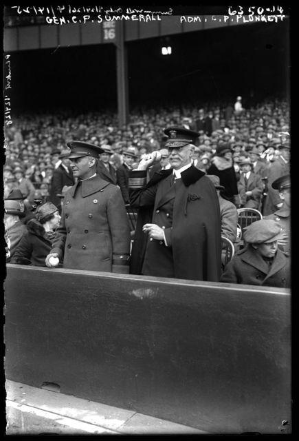 Gen. C.P. Summerall & Adm. C.P. Plunkett at baseball game, 1925.
