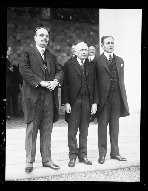 Hannibal Price (left) Secy. of [...] and Luis Brogan, Minister from Honduras, [snap?] given by Dr. Leo S. Rowe, Director of the Pan [...] in honor of the new ministers from Haiti and Honduras