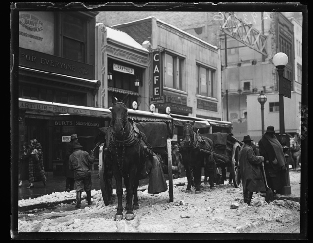 [Horses with wagons on snow covered street, Washington, D.C.]