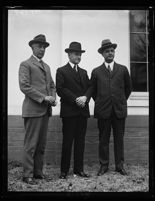 [Left to right: C. Bascom Slemp, Pres. Coolidge, and Cong. Everett Sanders, successor to Slemp as secretary to Pres. Coolidge. White House, Washington, D.C.]