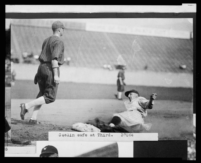 """[Leon A. """"Goose"""" Goslin, of the Washington Nationals, sliding safely into 3rd base during baseball game between Washington and the Chicago White Sox]"""