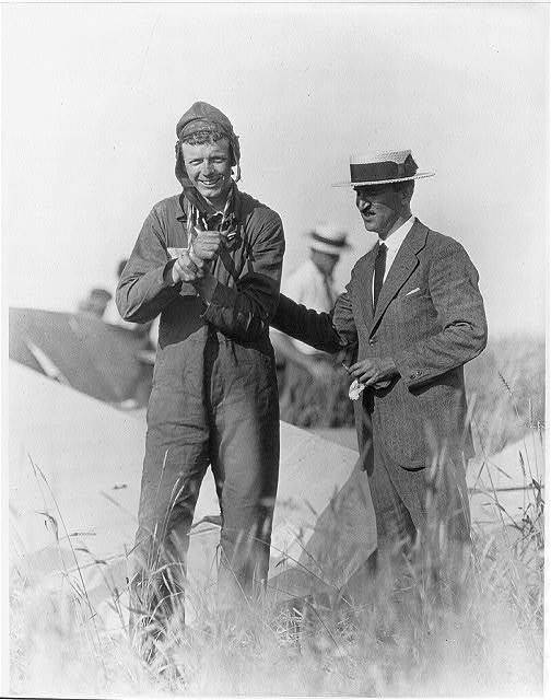 Lindbergh with dislocated shoulder after his second parachute jump