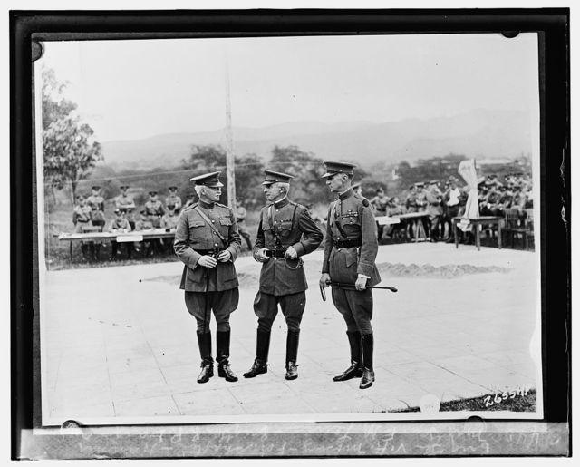 Maj. Gen. E.M. Lewis, Brig. Gen. R.P. Davis and Brig. Gen. V.A. Mosley, Fort Shafter, Hawaii