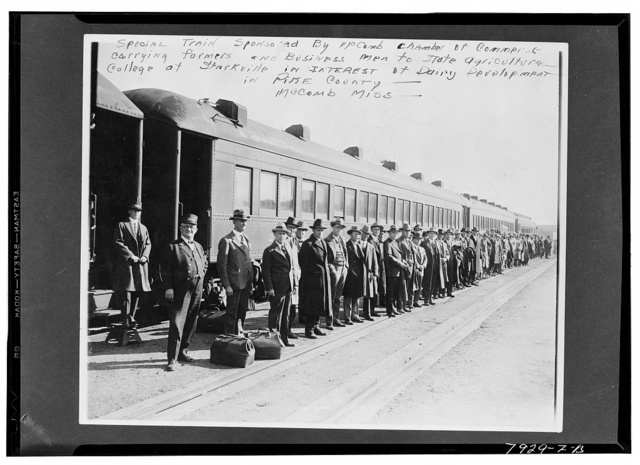 McComb, Mississippi. Special train sponsored by the McComb Chamber of Commerce carrying farmers and businessmen to state agricultural college At Starkville in the interest of dairy development in Pike County