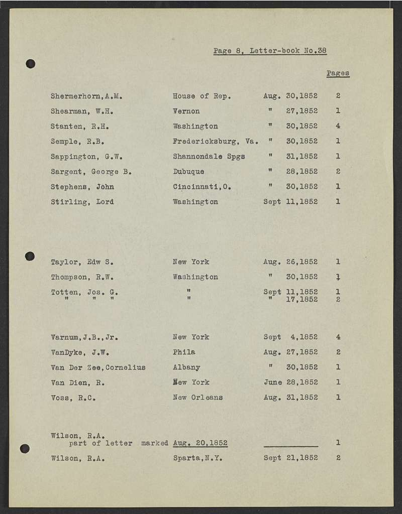 Millard Fillmore Papers: Index to letters in the Buffalo and Erie County, N.Y., Historical Society, 1925; Vols. 27-44; Folder 3 of 3